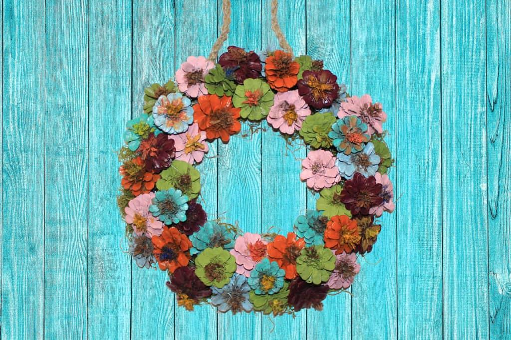 Diy Painted Pinecone Wreath Gulley Greenhouse