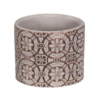 Round Embossed Gold Washed Cement Planter
