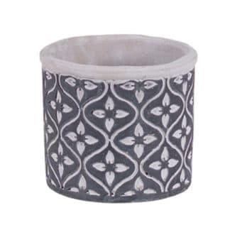 Round Grey Cement Pot with Clover Leaf Pattern
