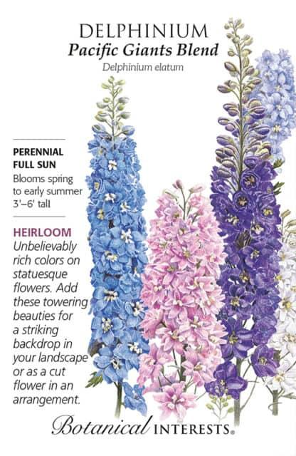 Pacific Giants Blend Delphinium seed packet